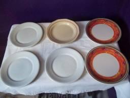 Nove pratos, sete de porcelana