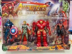 4 Bonecos Avengers Cartela Homem de ferro/Homem Aranha/Capitão América /Thor