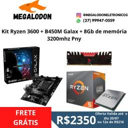 Kit Ryzen 3600 + b450M galax + 8GB de memoria ddr4 3200mhz , Novo (lacrado), Nf e garantia