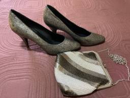 Sapato e bolsa de festa