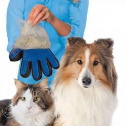 Luva Escova Magnética Pet Limpa Pelos e Massageia