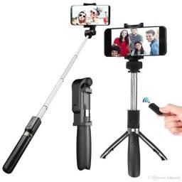 Bastão Pau Selfie Tripe Controle Bluetooth Retrátil