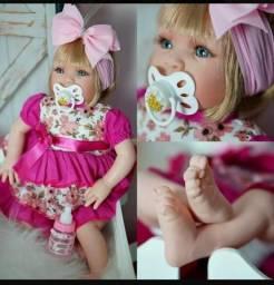 Boneca Bebê Tipo Reborn Realista cílios e Chupeta magnética c/ acessórios