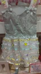 Vestido Infantil Prata e Branco