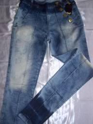 Calça jeans casual, com elastano - azul tam.40