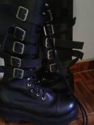 Coturno bota Vilela boots couro (TM 41) rock