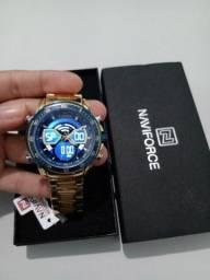 Relógio naviforce dourado masculino original
