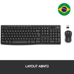 Teclado e Mouse Logitech MK270 Sem Fio Multimídia Preto ABNT2 - 920-004433