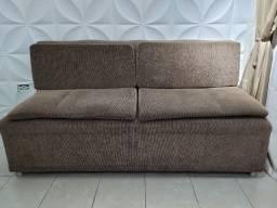 Sofá cama em tecido texturizado marrom com preto