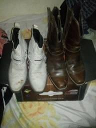 2 lindos pares botas em couro legítimo n41