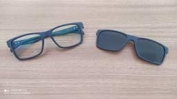 Armação Óculos Grau HB 0339 Azul Fosco Clip On Polarizado