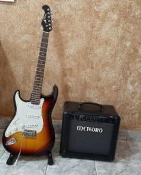 Kit Guitarra para canhoto + Amplificador Meteoro + Brindes