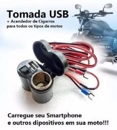 Tomada Usb P/ Moto Carregador Celular Gps Acendedor Cigarro