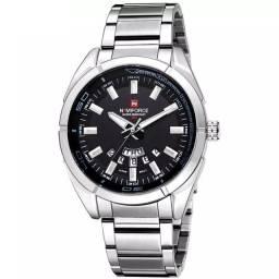 Promoção! Relógio Masculino Naviforce Aço Prata