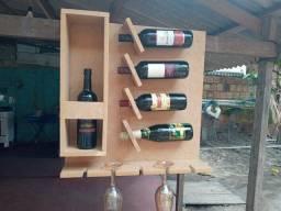 Adega de vinho suspenso em mdf 15 mm cru