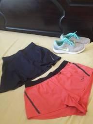 Kit fitness tenis nike + short + short saia