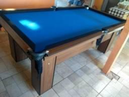 Mesa Charme 2,20 x 1,20 | Mesa Imbuia | Tecido Azul | Modelo: CFRF5375