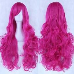 Peruca Rosa Pink - resistente Mulheres Long Curly Cosplay peruca Oblique bang Calor