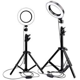 Iluminador RING LIGHT 26cm + suporte central + Tripé