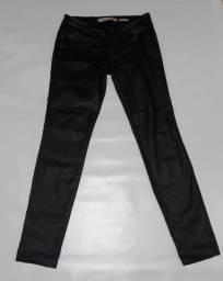 Calça jeans acetinada preta Skinny 42