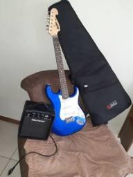 Kit guitarra memphis mg32+ amplificador + capa