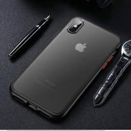 Capa macia de silicone com bordas de plástico rígido para iphone xs mas