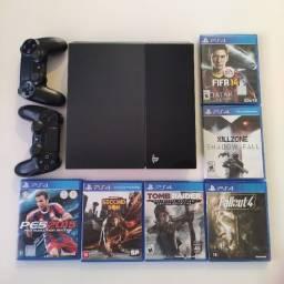 PS4 + 2 Controles + 6 Jogos