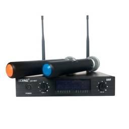 microfones: 2 LeLong sem fio, 1 Grundig com fio,  produtos de marca como novos