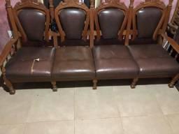 Conjunto sofá e poltrona antigo madeira maciça