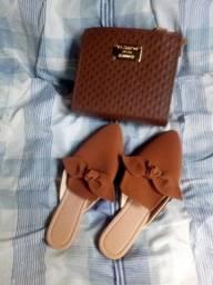 Kit bolsa e sandália rasteirinha Mulle