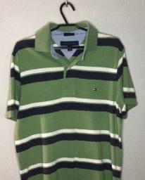 camisa polo Tommy Hilfiger verde com listras azul e branca