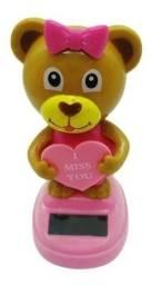 Título do anúncio: Urso Solar Love Bear Laço Solar Painel Carro Boneco 10 Cm