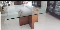 Mesa de Jantar 1,50m x1,50m com vidro temperado de 20mm.