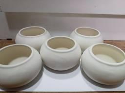 Kit 5 Mini Vaso Planta Suculenta Cerâmica Redondo Branco Para Pintar
