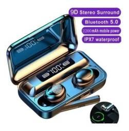 Fone de ouvido Bluetooth F9 com Power Bank