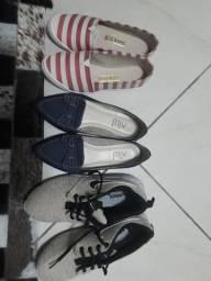 Os três sapatos por R$115,00