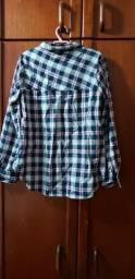Linda camisa xadrez azul com rosa, tamanho 10 anos