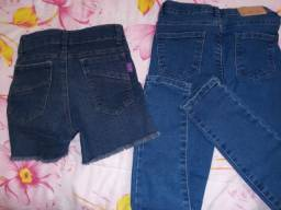 Kit Calça jeans numero 10 usado 1 vez. E bermuda jeans numero 12