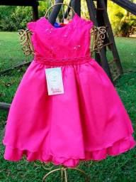 Vestido Infantil Inteiro Rosa 01 ao 03