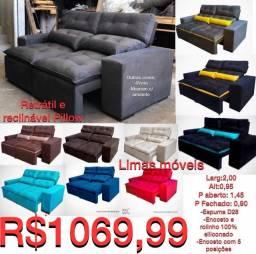 Sofá Retrátil e Reclinável Pillow - R$ 1.069,99 - Frete Grátis/Consulte