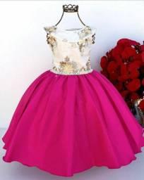Vestido Infantil Rosa Luxo