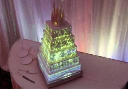 Projeção mapeada em bolos.
