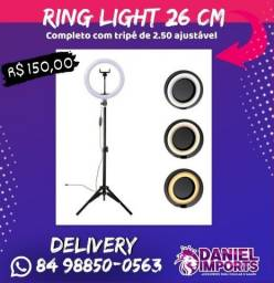 Ring light 26 cm com tripé 2 metros aceitamos cartão