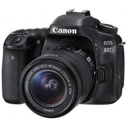 """Câmera Digital Canon EOS 80D 24.2MP 3.0"""" Lente EF-S 18-55MM is stm"""