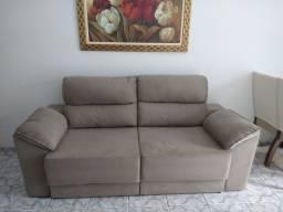 Sofá retrátil e reclinável tecido Suede, novíssimo