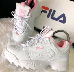 Tênis Fila Disruptor  Premium Feminino Casual - Branco/Rosa Tam 39