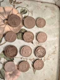 Lote de moedas e notas antigas