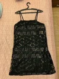 Vestido de festa preto bordado curto G