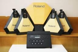 Modulo e Pads Bateria Eletrônica Roland Pm-16 Vintage 1987