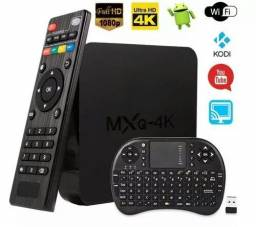 Tv box MXQ + controle normal + controle Bluetooth